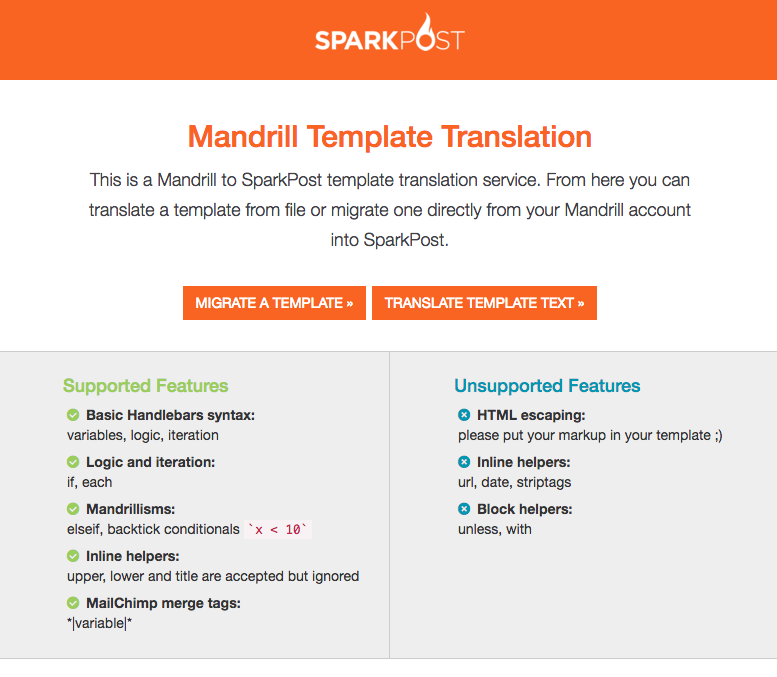 Mandrill-to-SparkPost Template Tool MST3K UI
