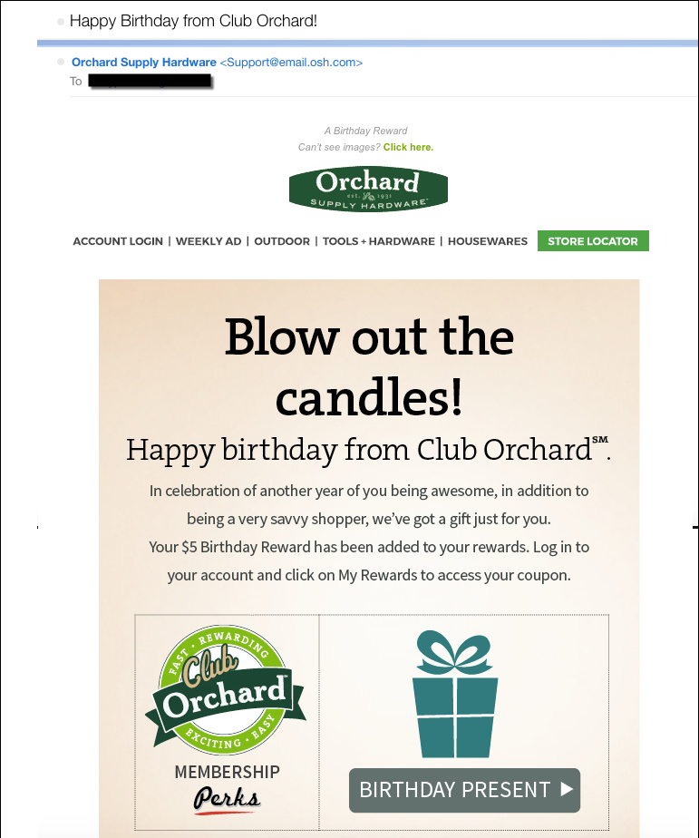Retail Digital Strategy Birthday Triggered Example