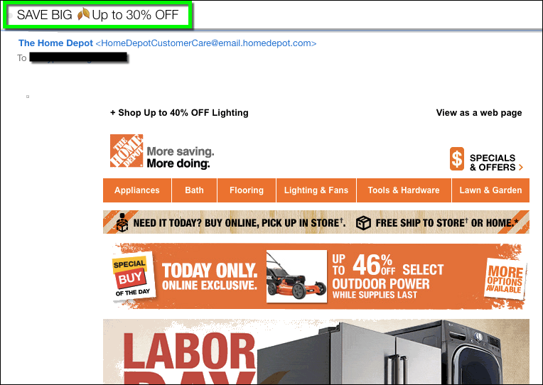 Bad example of email emojis - HomeDepot