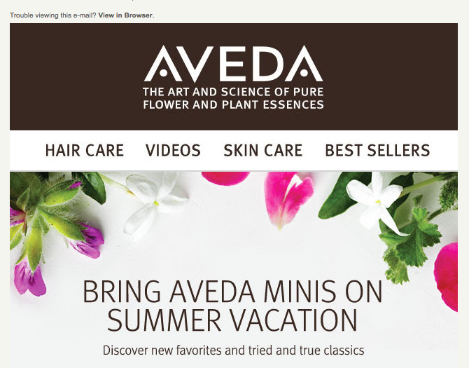 aveda summer email campaign