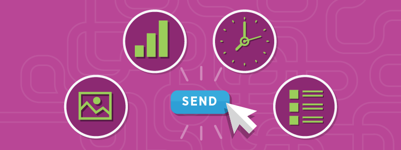 pink background press send email campaign checklist