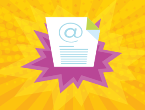 transactional email engagement yellow background purple pop art white email page 360x274