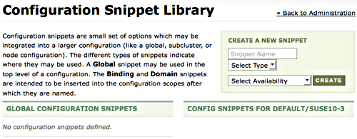 Configuration snippets